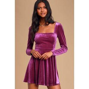 Lulu's Magenta Velvet Long Sleeve Skater Dress